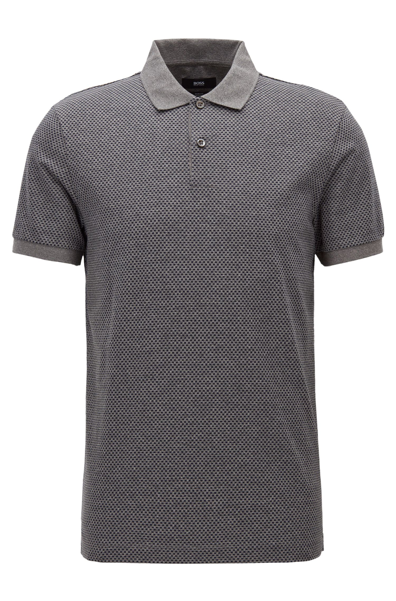 Slim-fit polo shirt in micro-pattern cotton