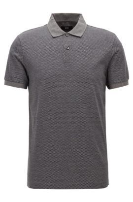 Slim-fit polo shirt in micro-pattern cotton, Grey
