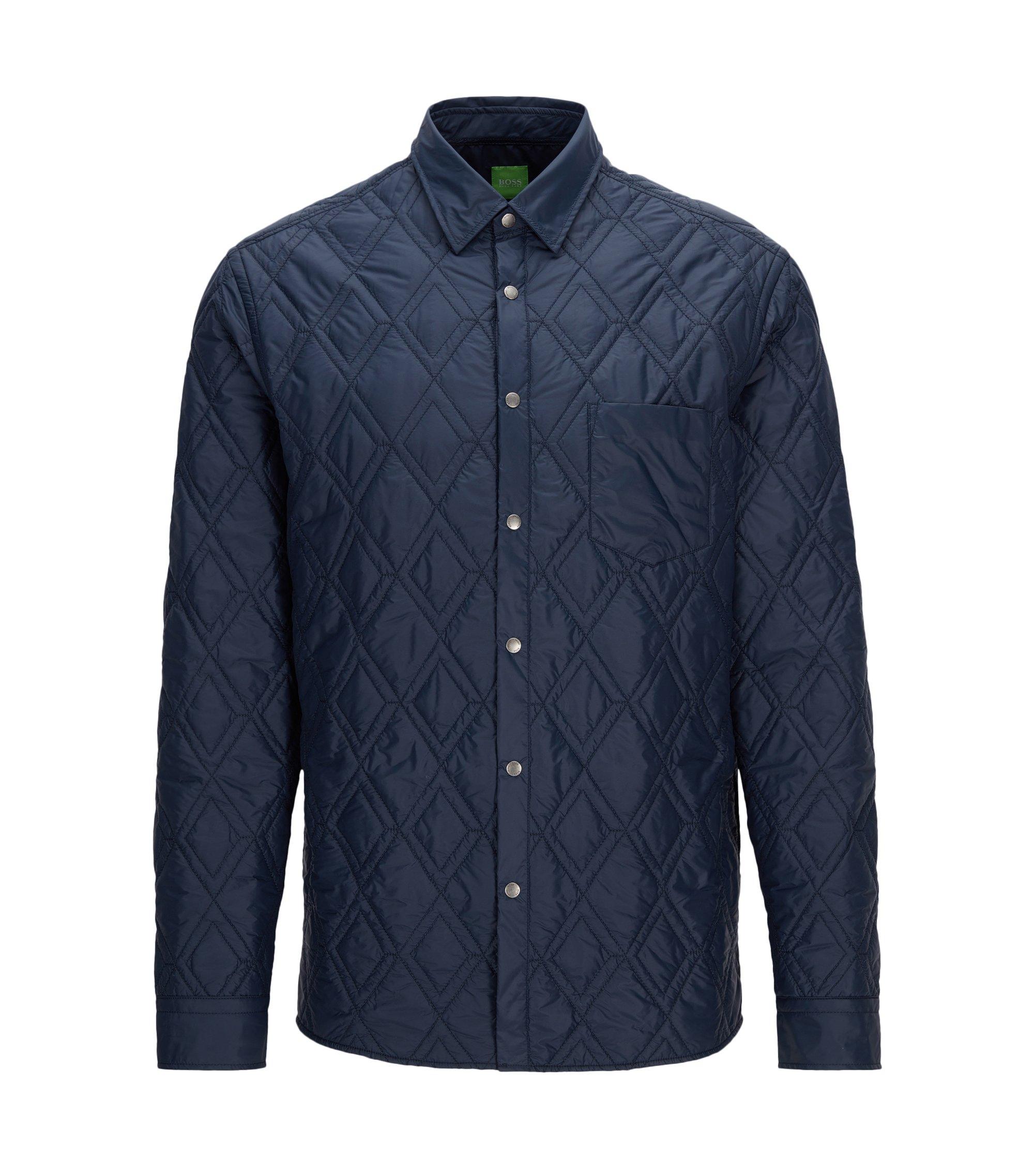 Veste Relaxed Fit imperméable matelassée style chemise, Bleu foncé