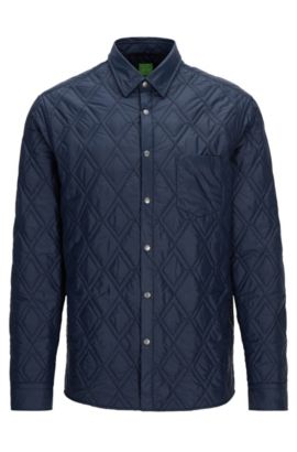 Relaxed-fit water-repellent padded shirt jacket, Dark Blue