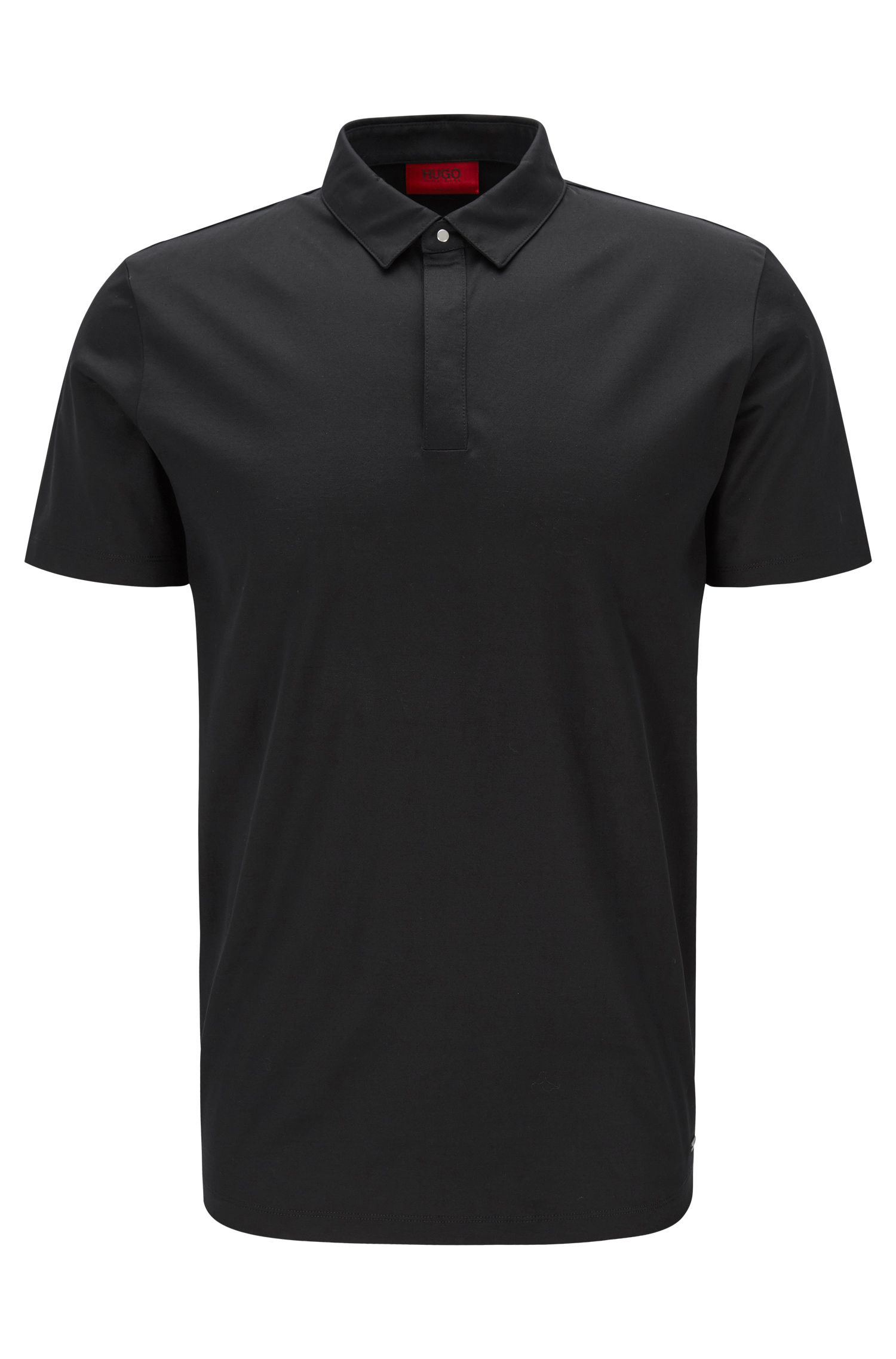 Slim-fit polo shirt in mercerised cotton with concealed placket