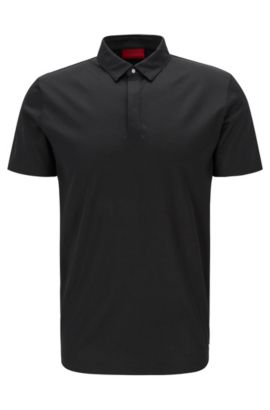 Slim-fit polo shirt in mercerised cotton with concealed placket, Black