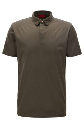 Slim-fit polo shirt in mercerised cotton with concealed placket, Dark Green