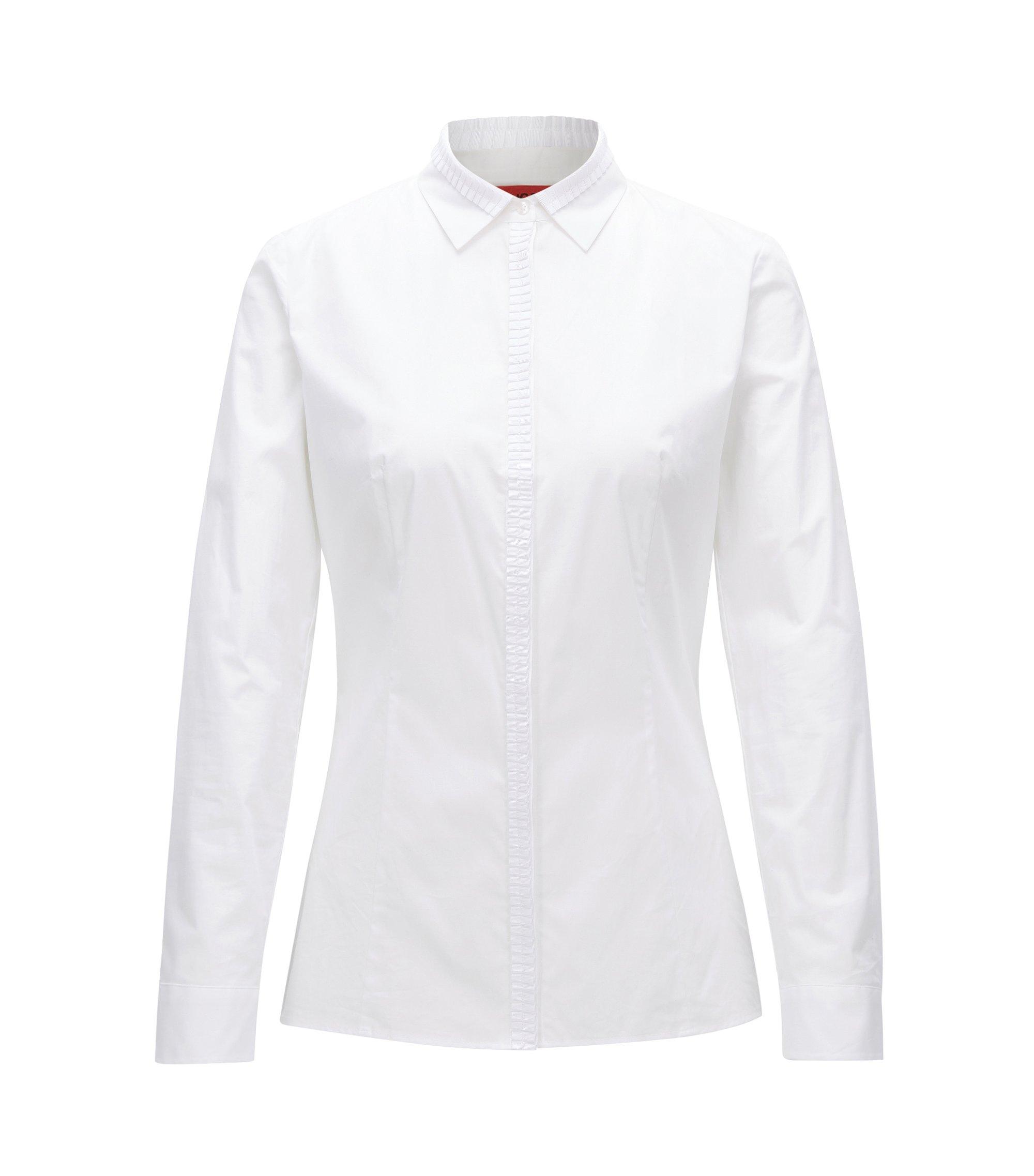 Slim-Fit Bluse aus elastischer Baumwoll-Popeline, Weiß