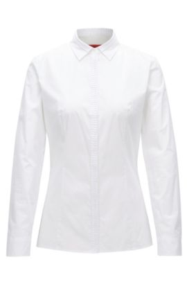Slim-fit blouse in stretch cotton poplin, White
