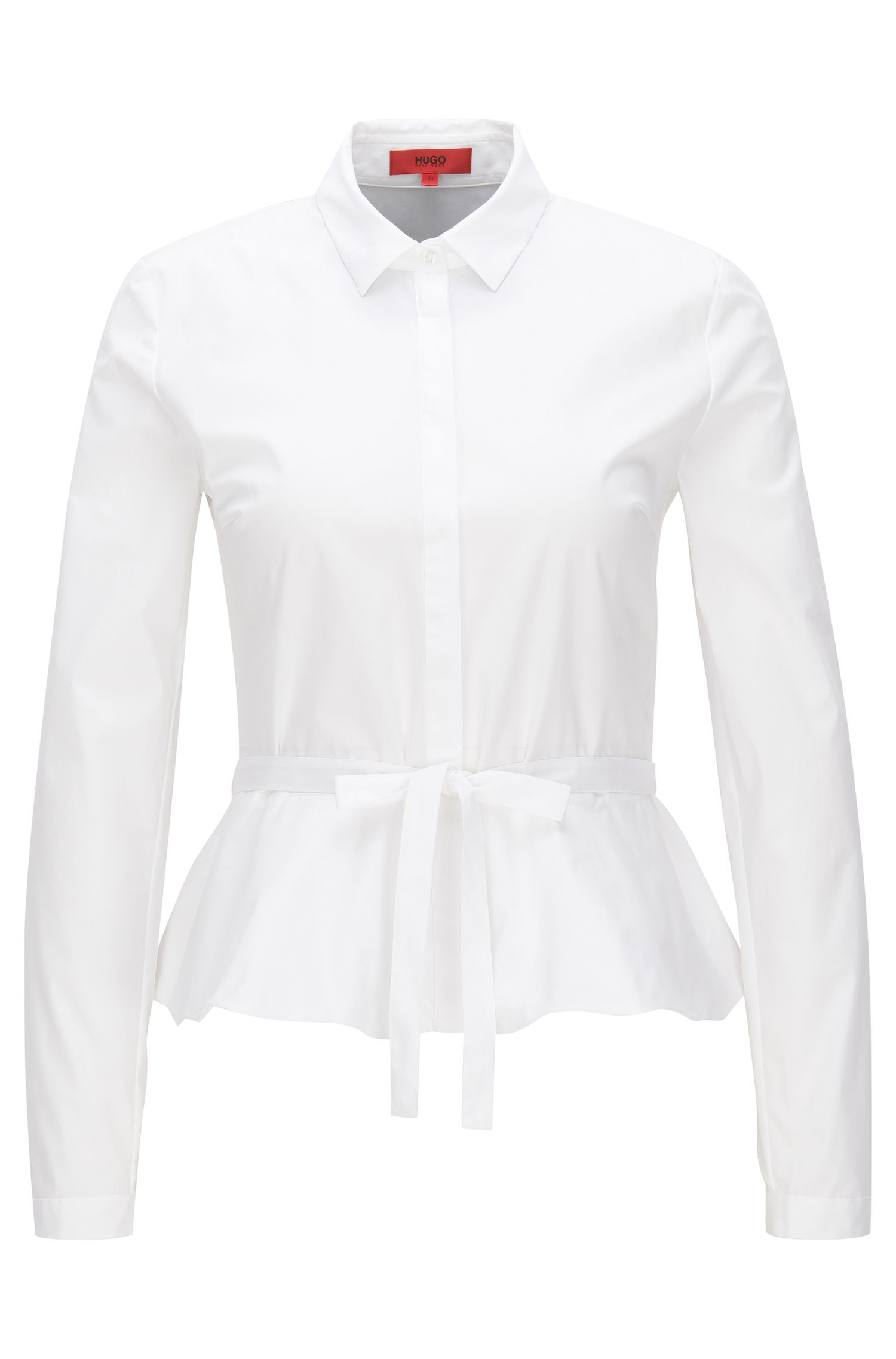Slim-fit blouse van stretchpopeline