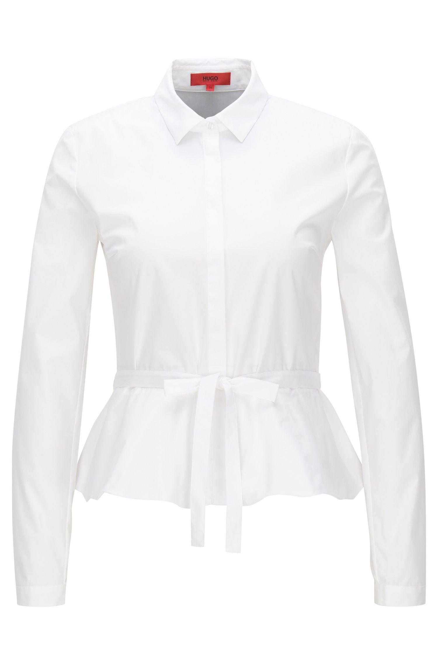 Blusa slim fit en popelín elástico