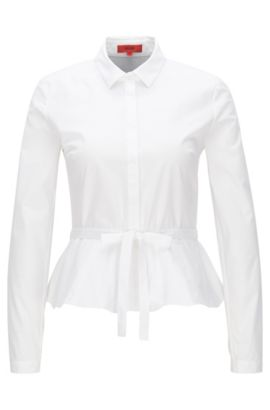Slim-fit blouse in stretch poplin, Open White