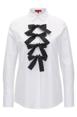 Relaxed-fit blouse in stretch poplin, White
