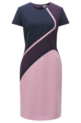 Vestido tubo en tejido elástico con bloques de colores, Púrpura oscuro