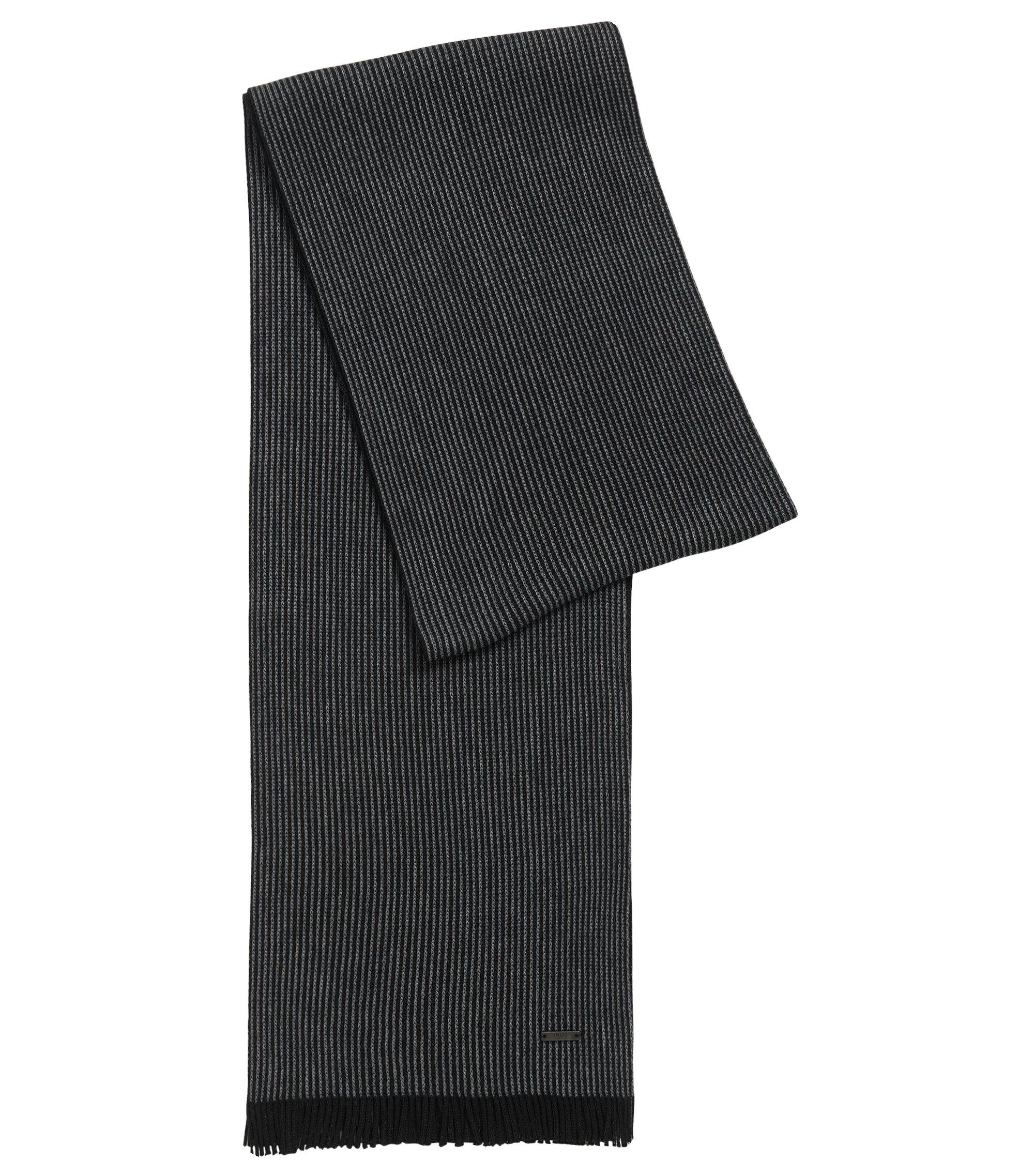 Sciarpa con motivo gessato in lana vergine, Nero