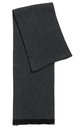 Pinstripe scarf in virgin wool, Black