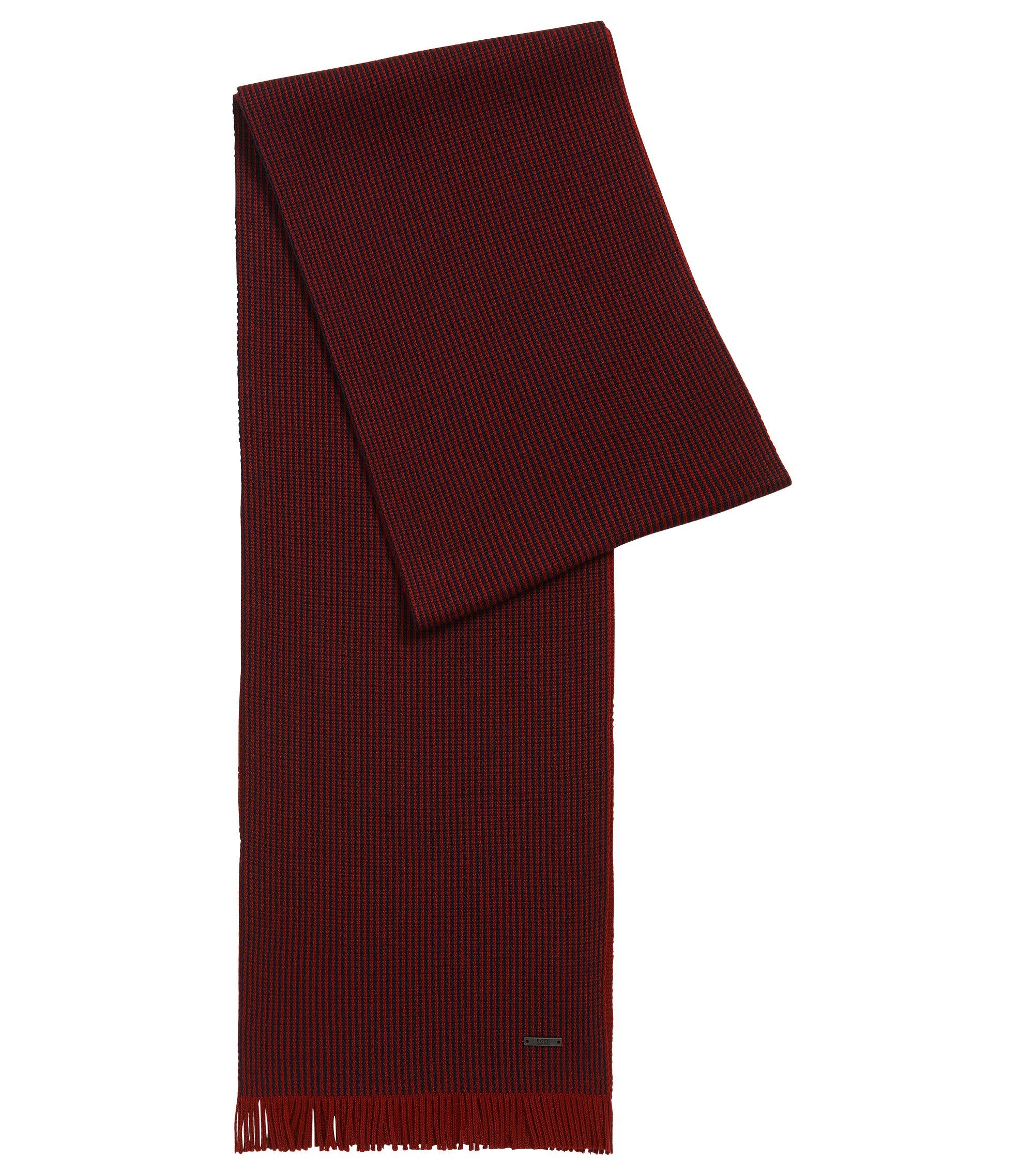 Sciarpa con motivo gessato in lana vergine, Rosso scuro