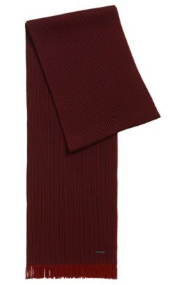 Pinstripe scarf in virgin wool, Dark Red