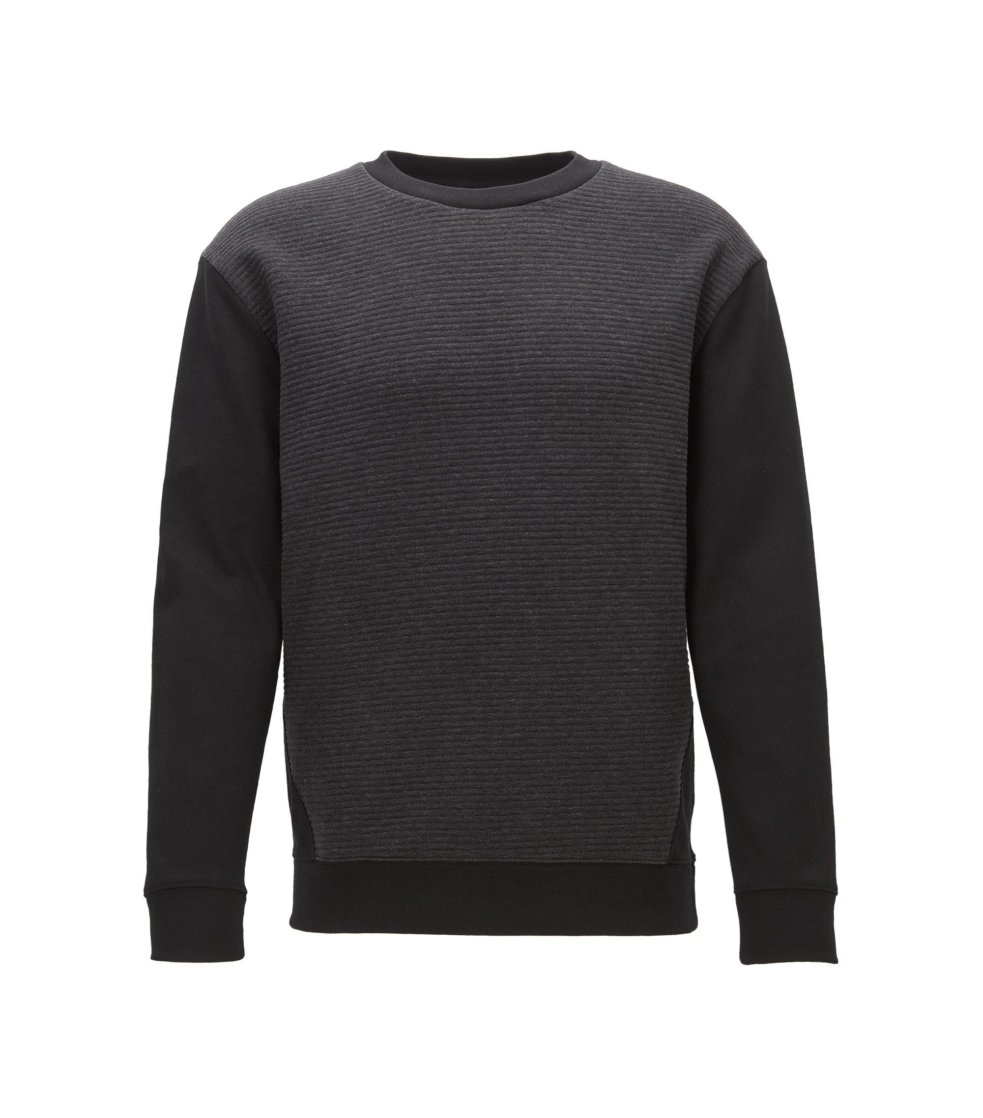 Sweater met gestikt voorpand in jacquard, Zwart