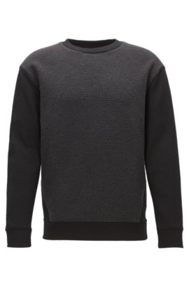 Sweatshirt with quilted jacquard front panel, Black