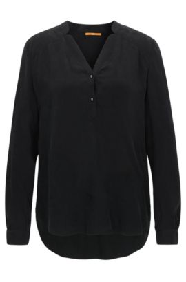 Relaxed-fit blouse in dobby fabric, Black