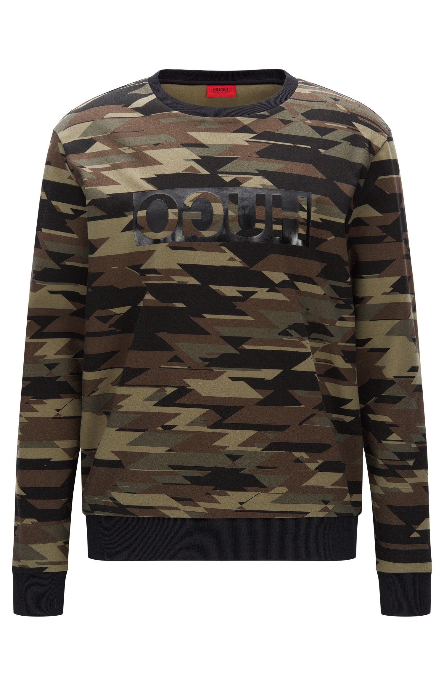 Oversize Sweatshirt aus Baumwolle mit Camouflage-Print