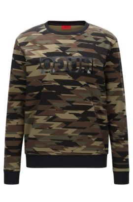 Oversized camouflage-print sweatshirt in interlock cotton, Dark Green