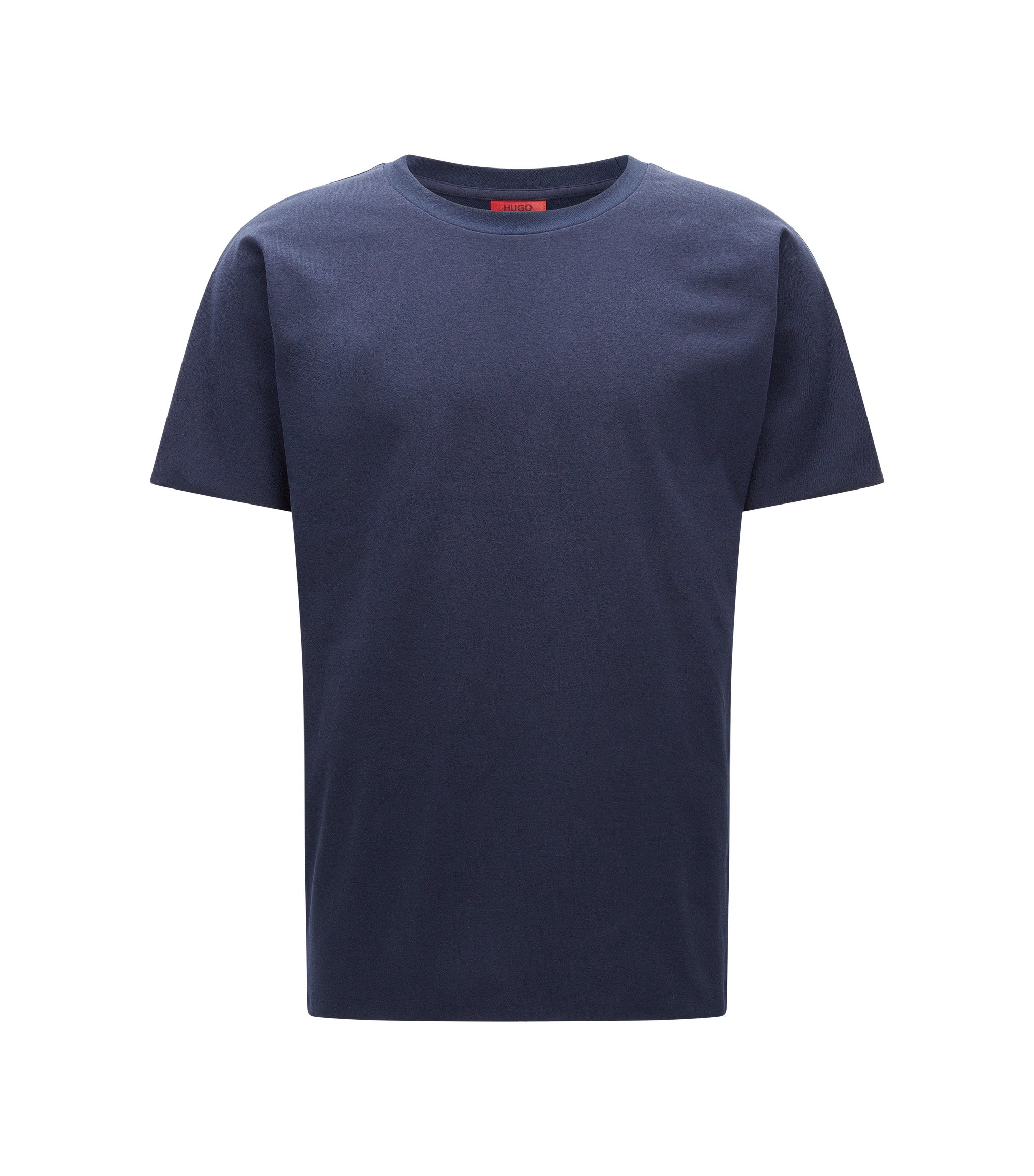 T-shirt relaxed fit in twill french terry, Blu scuro