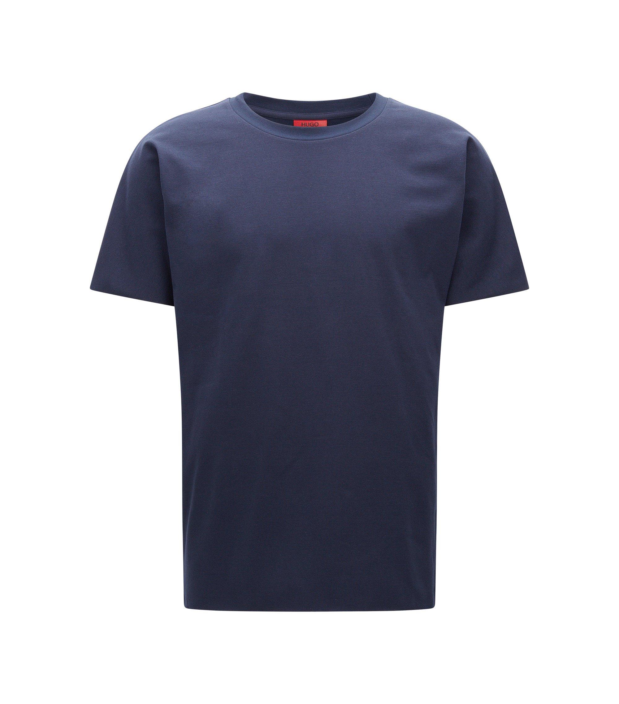 Relaxed-fit T-shirt in een twill van badstof, Donkerblauw
