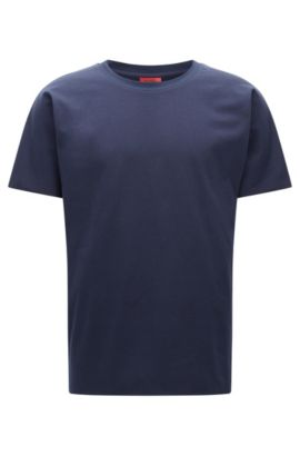 T-shirt Relaxed Fit en twill French terry, Bleu foncé