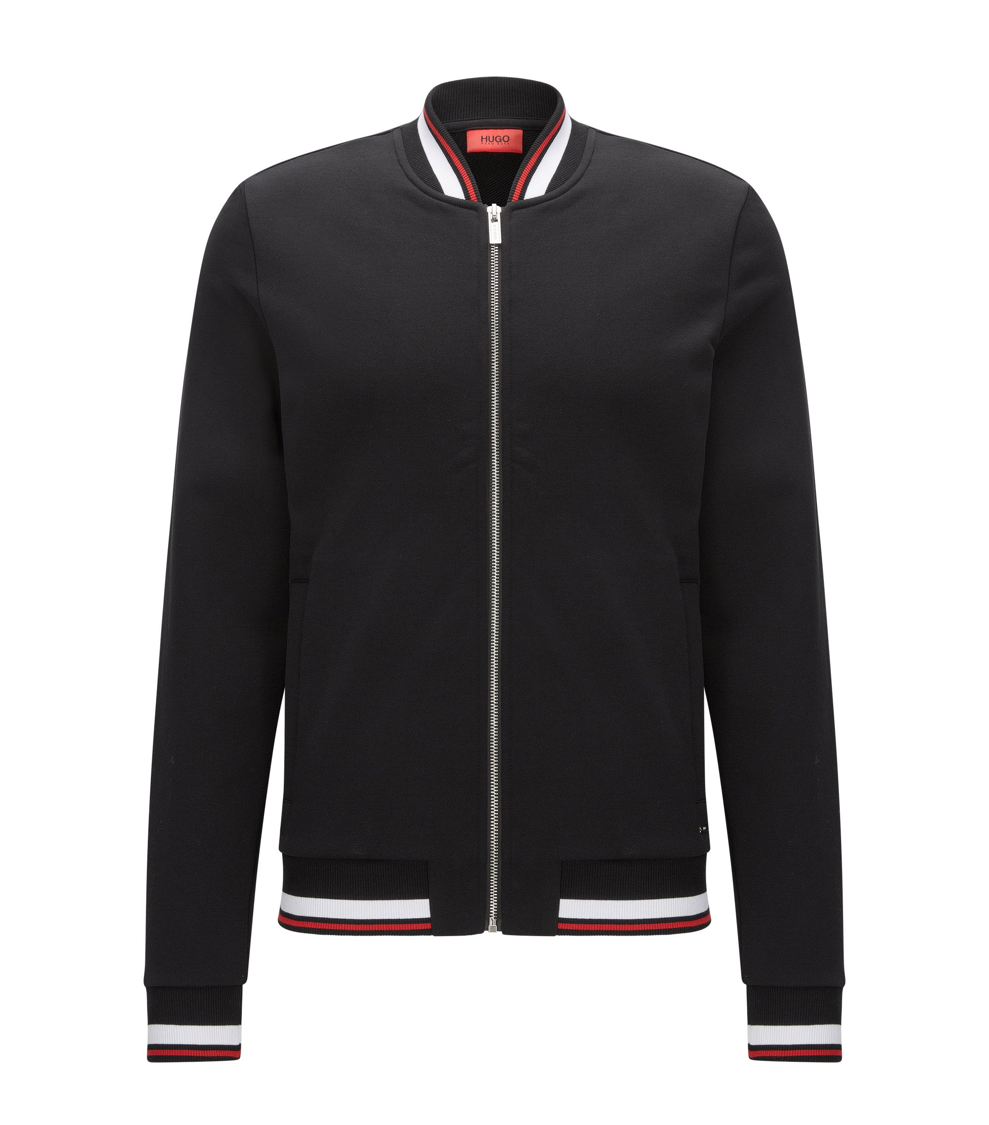 Giacca relaxed fit con zip integrale in french terry, Nero