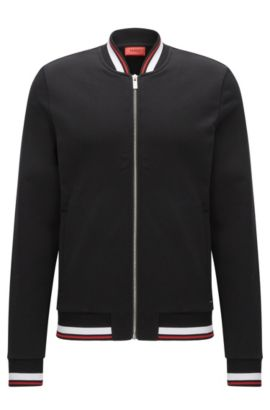 Relaxed-fit zip-through jacket in French terry, Black