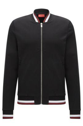 Relaxed-fit jas van badstof met ritssluiting, Zwart