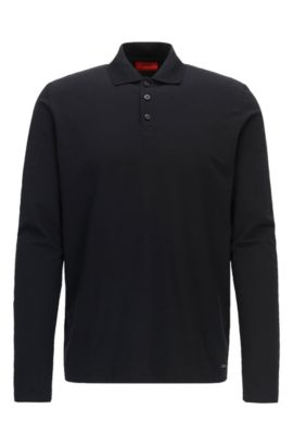 Polo Regular Fit à manches longues en coton stretch, Noir
