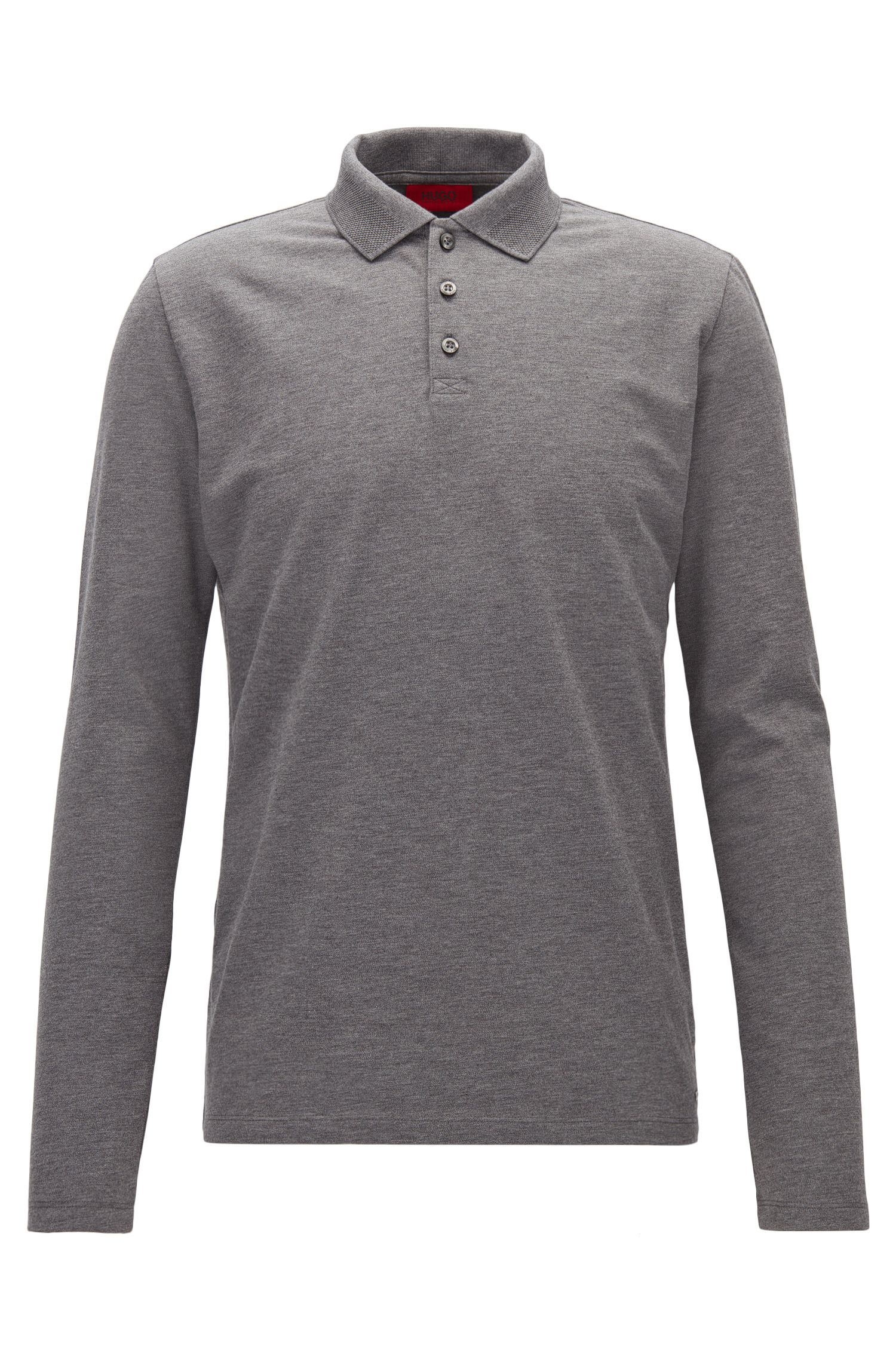 Regular-Fit Longsleeve-Poloshirt aus Stretch-Baumwolle
