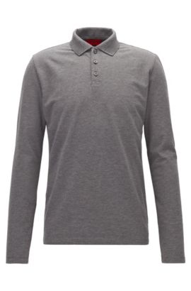Regular-Fit Longsleeve-Poloshirt aus Stretch-Baumwolle, Hellgrau