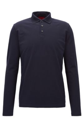 Long-sleeved regular-fit polo shirt in stretch cotton, Dark Blue