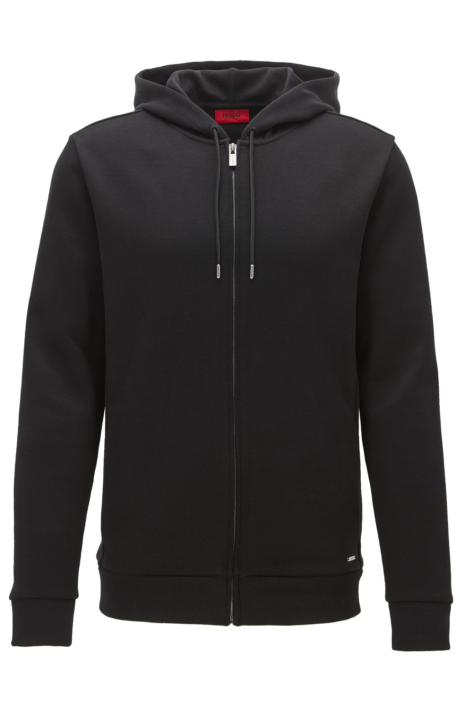 Relaxed-fit French rib zip-through hoody in cotton