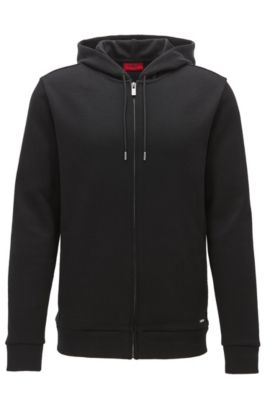Relaxed-fit French rib zip-through hoody in cotton, Black