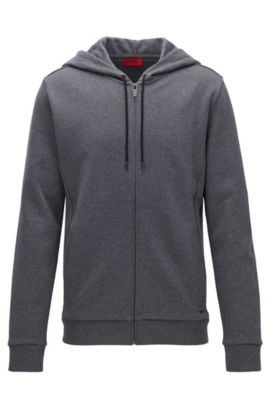 Relaxed-fit French rib zip-through hoody in cotton, Dark Grey