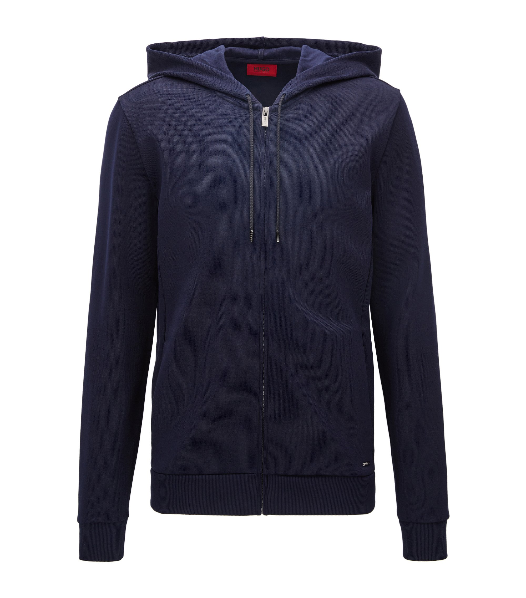 Relaxed-fit French rib zip-through hoody in cotton, Dark Blue