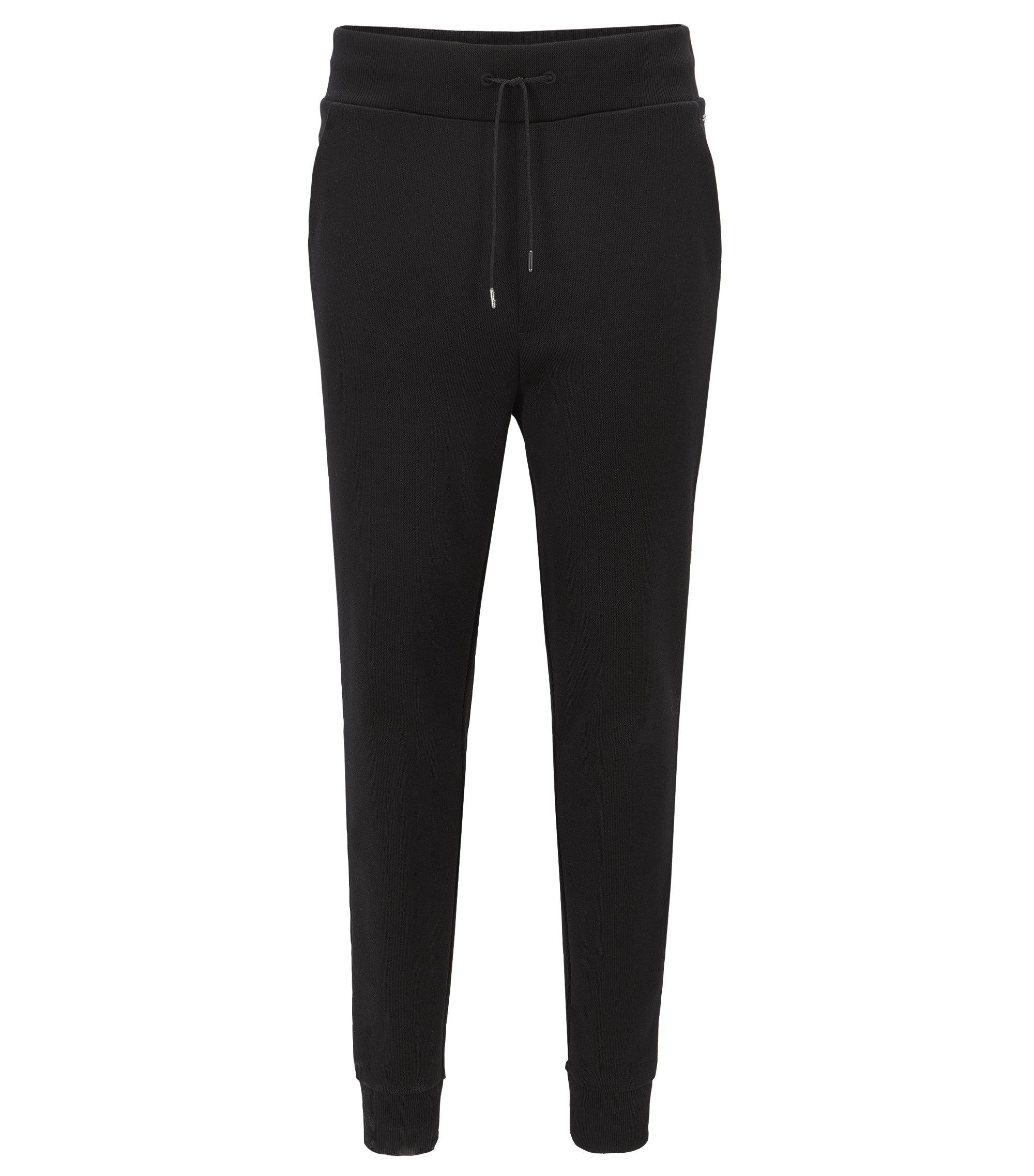 Relaxed-Fit Hose aus geripptem Baumwoll-Jersey, Schwarz
