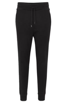 Relaxed-fit French rib trousers in cotton jersey, Black