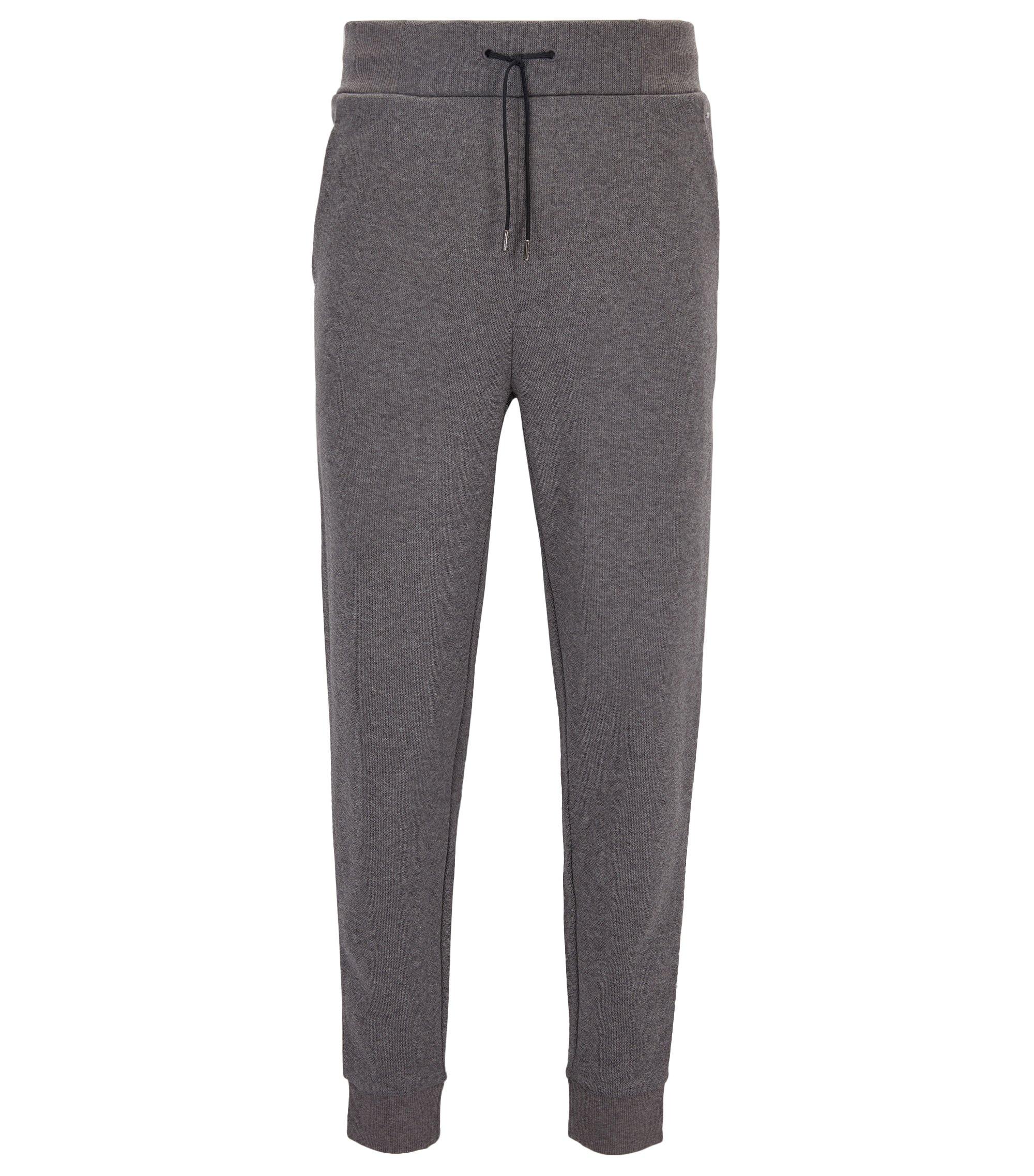 Relaxed-Fit Hose aus geripptem Baumwoll-Jersey, Grau