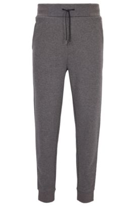 Relaxed-Fit-Hose aus geripptem Baumwoll-Jersey, Hellgrau