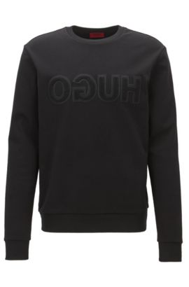 Logo-detail sweatshirt in interlock cotton, Black