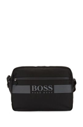 Messenger bag in durable nylon, Black