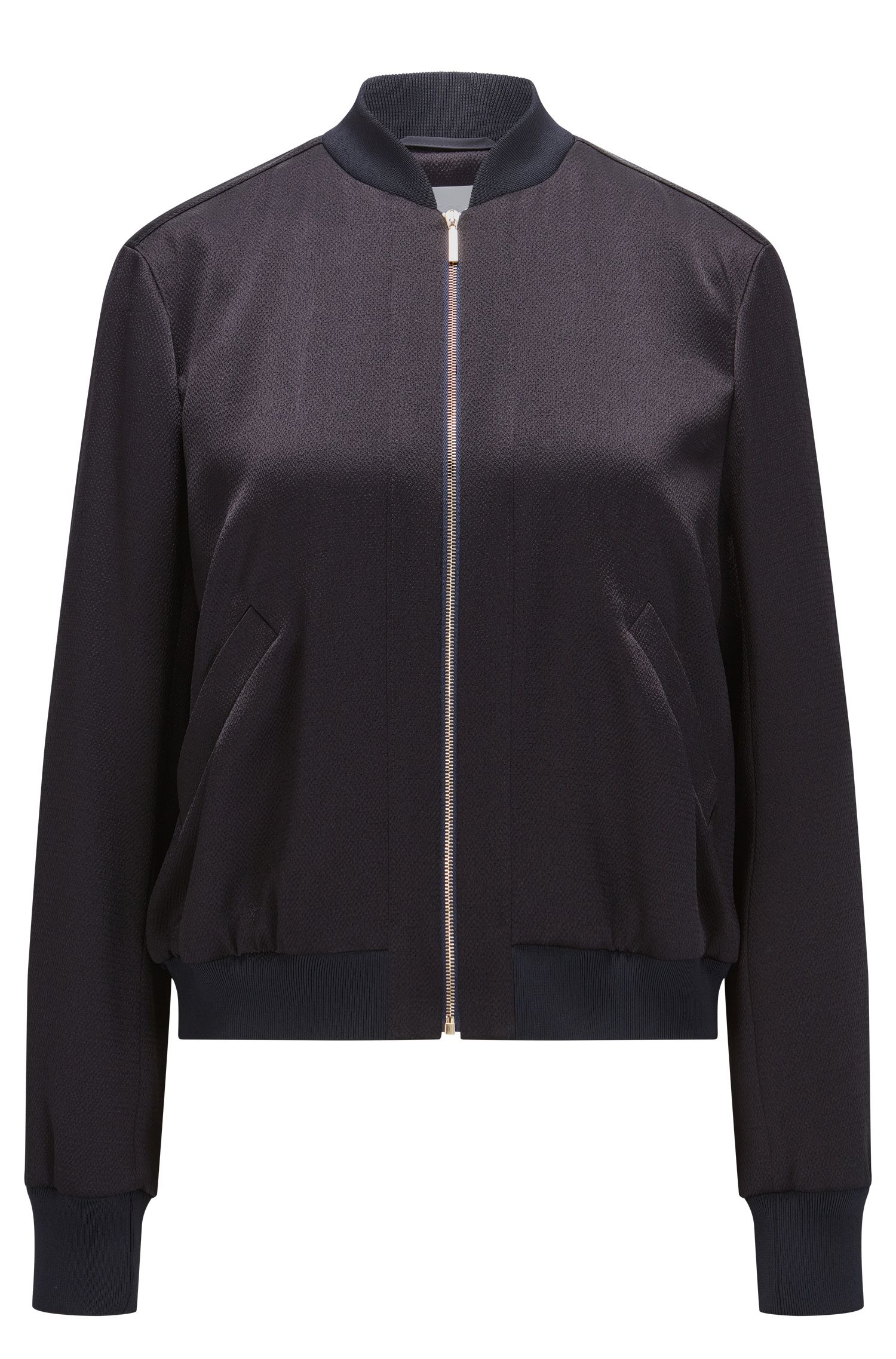 Relaxed-fit bomber jacket in structured fabric