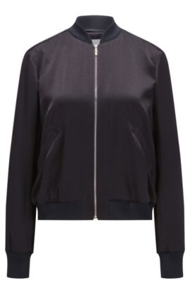 Relaxed-fit bomber jacket in structured fabric, Dark Blue