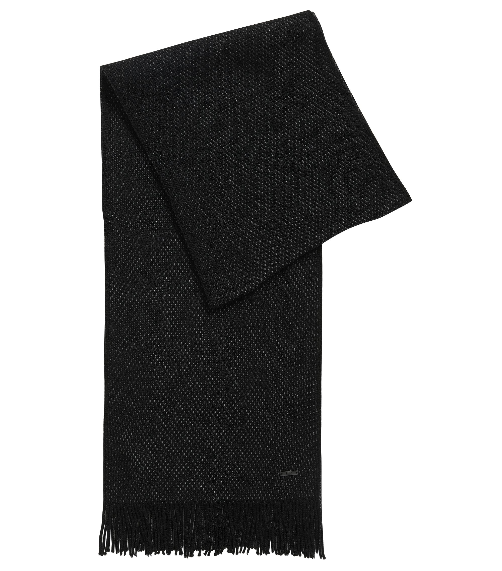 Dezent strukturierter Schal aus Schurwolle , Schwarz