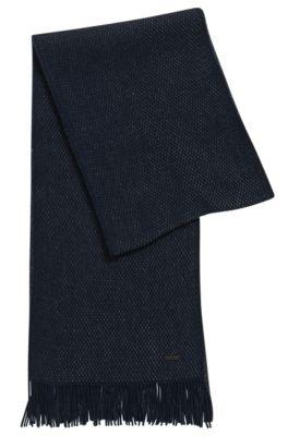 Sciarpa in lana vergine finemente lavorata , Blu scuro