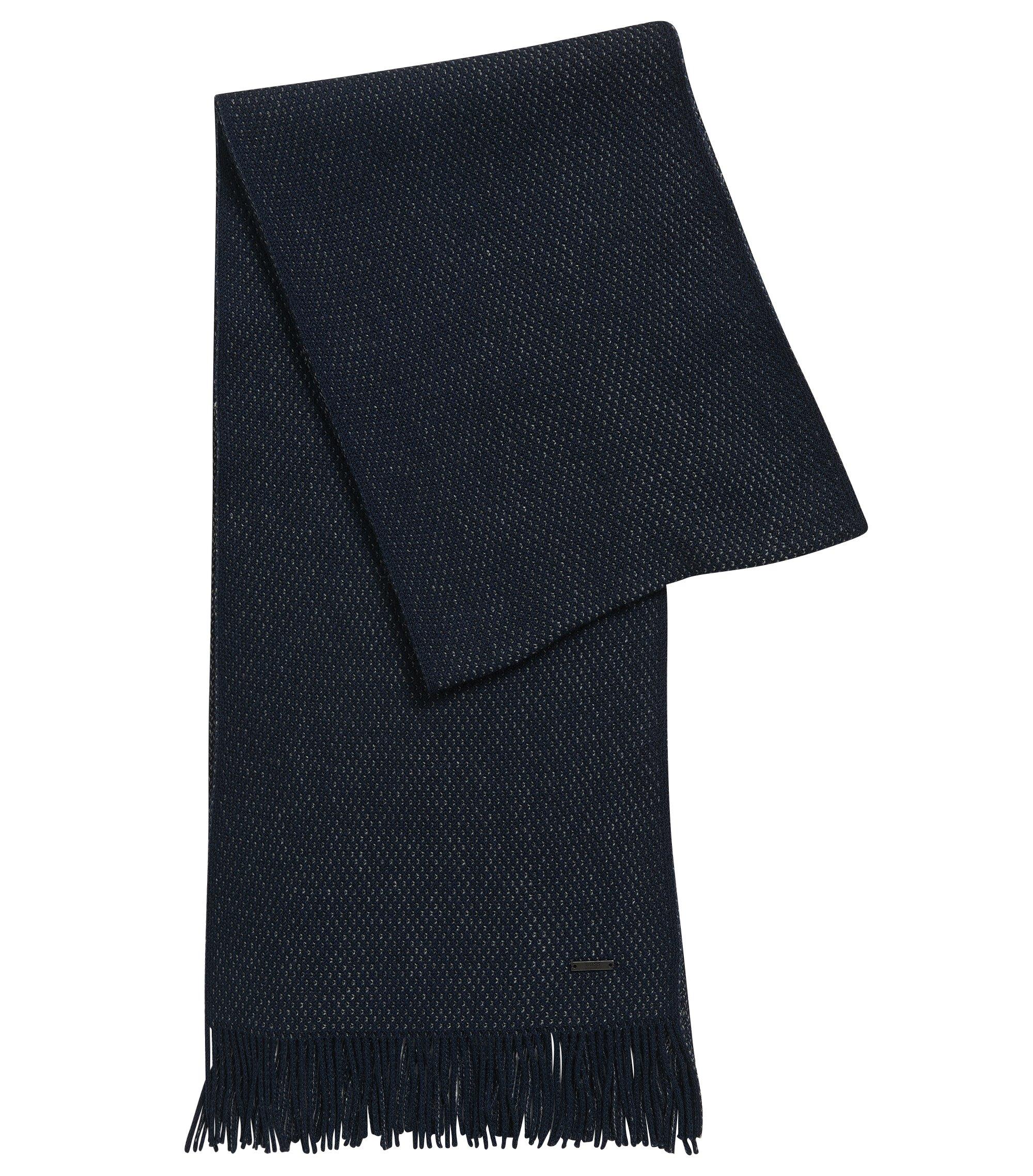 Dezent strukturierter Schal aus Schurwolle , Dunkelblau
