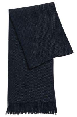 Finely textured scarf in virgin wool , Dark Blue