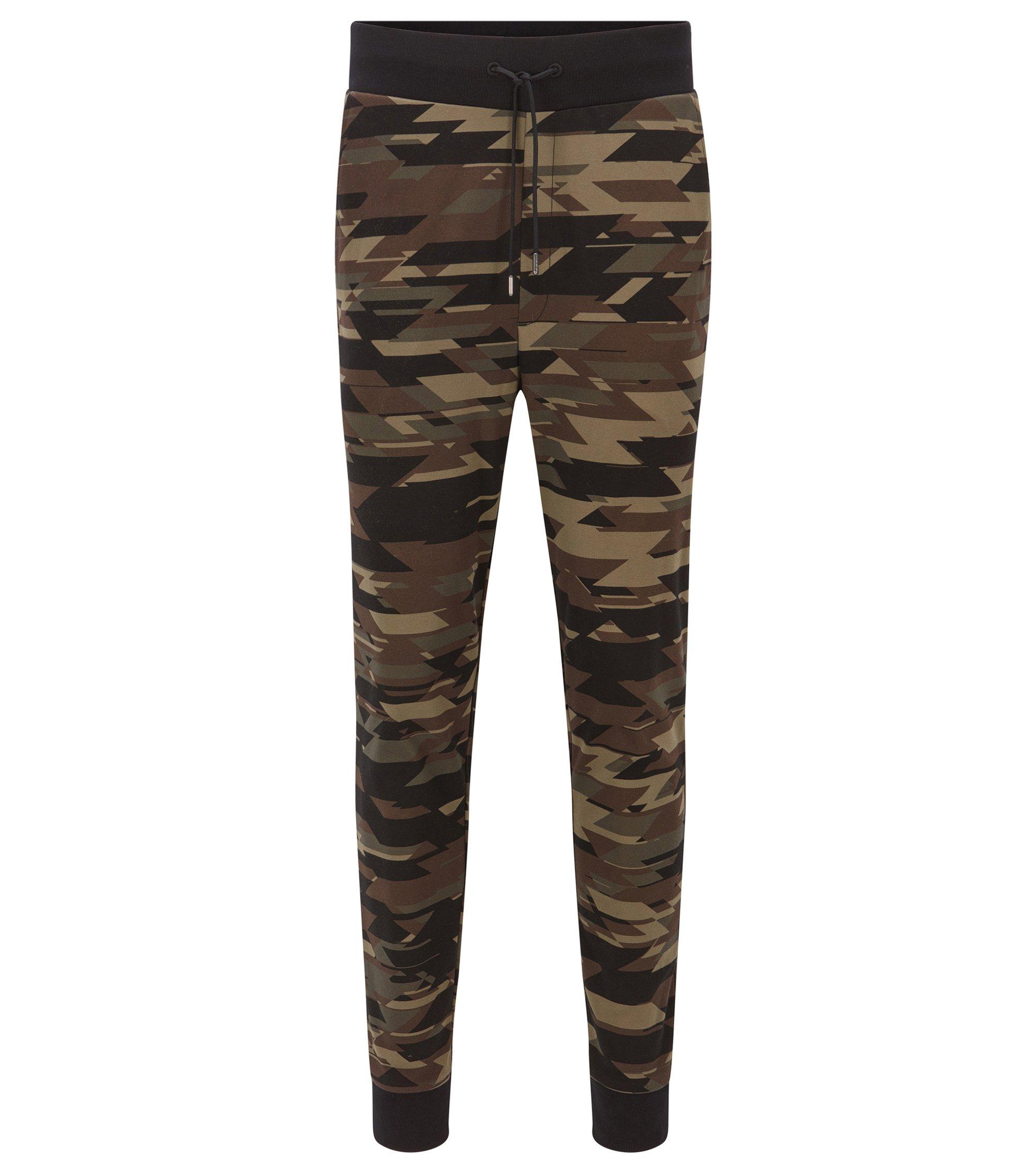 Regular-Fit Hose aus Baumwolle mit Camouflage-Print, Dunkelgrün